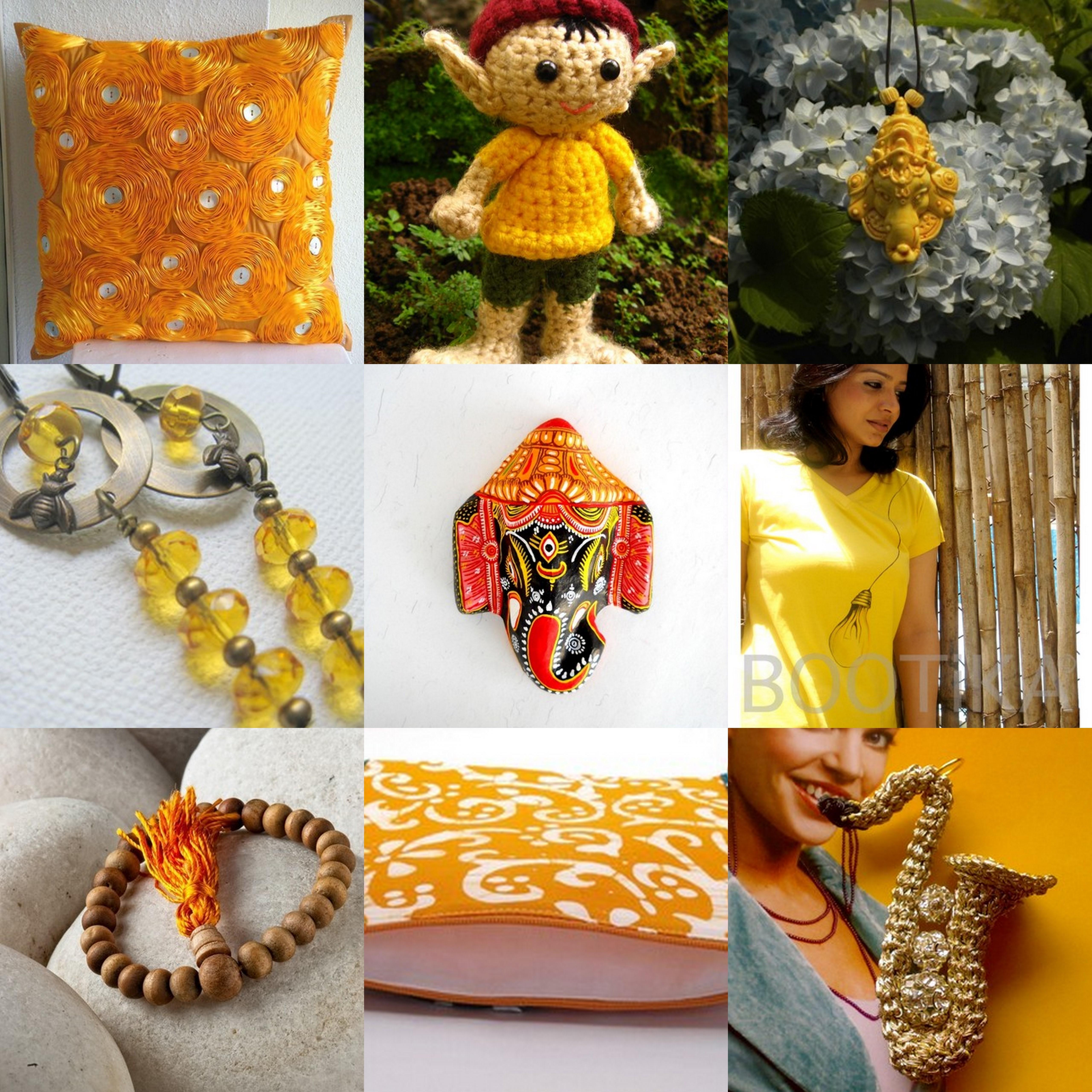 pillow cover, crochet,ganesha pendant, earrings, ganesha mask,hand painted t-shirt, sandalwood beads,blockprint bag, crochet pendant